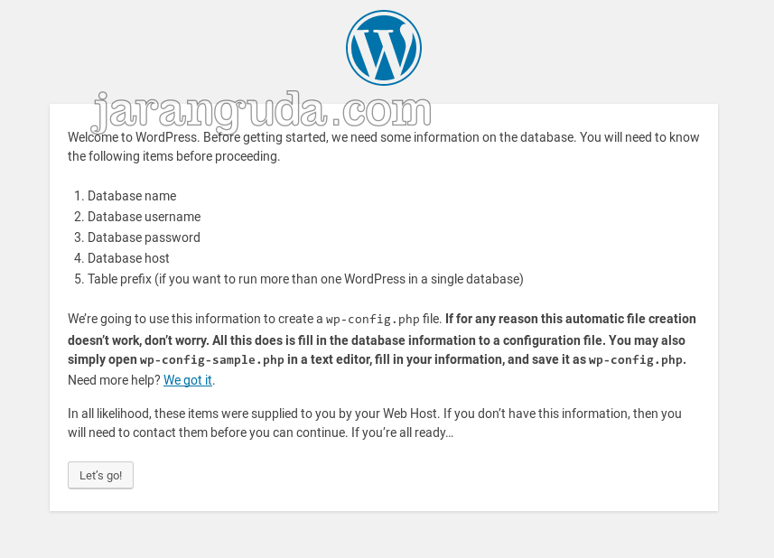 halaman install wordpress
