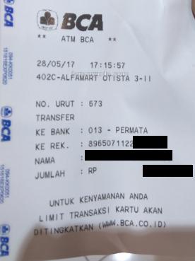 Contoh bayar via ATM BCA