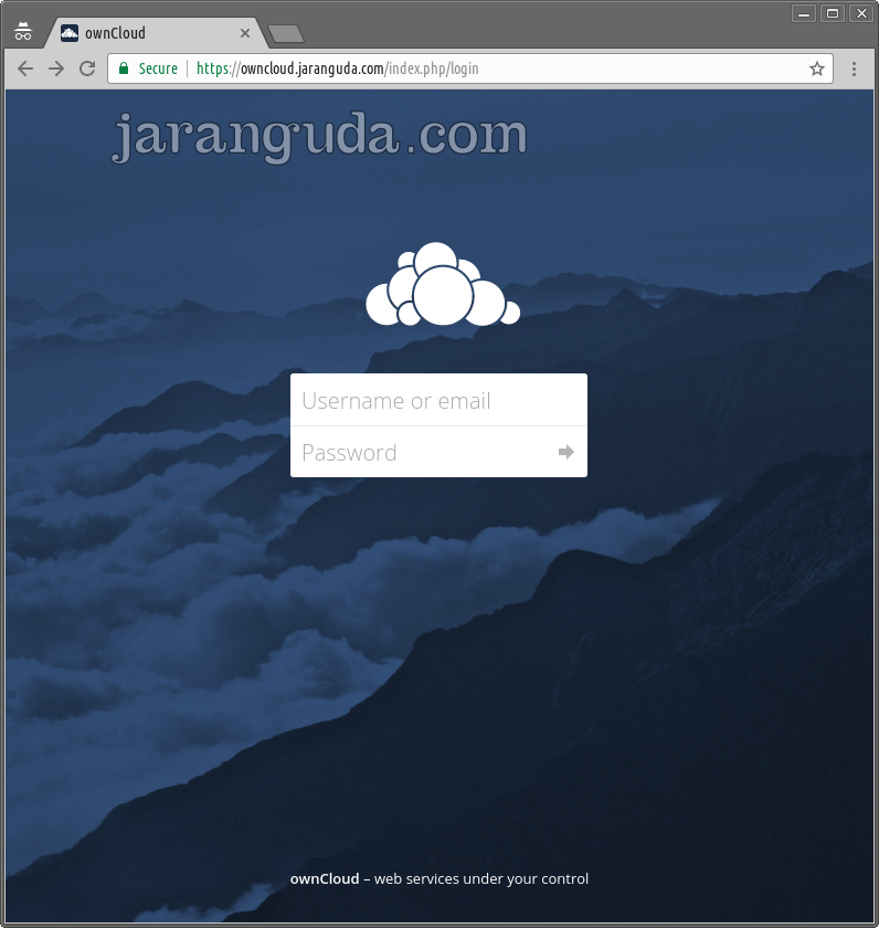 halaman login owncloud x