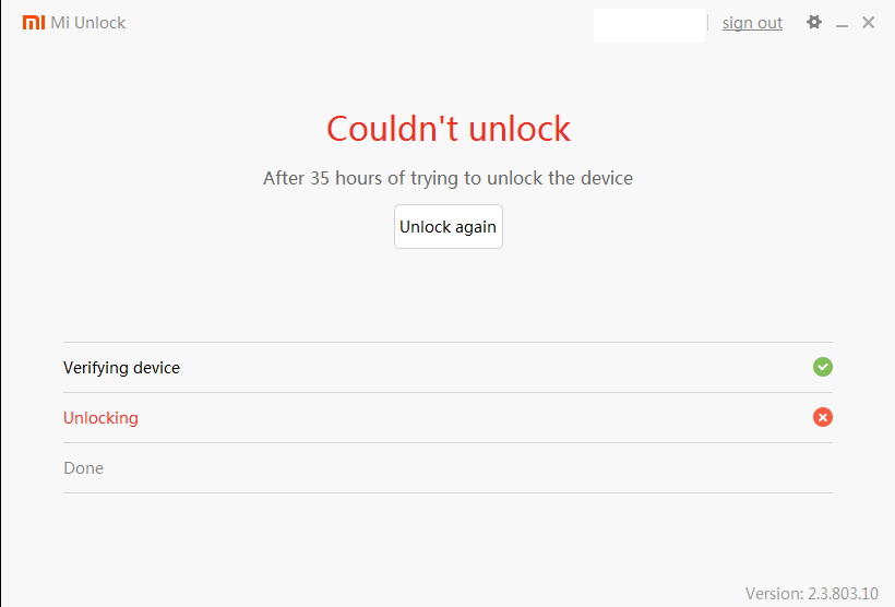 couldnt unlock 72 hours mi tool