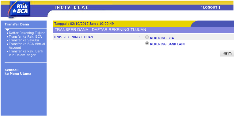 transfer ke rekening bank lain