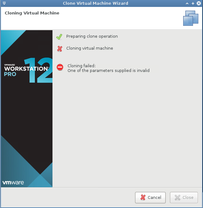 one of the parameters supplied is invalid - vmware workstation