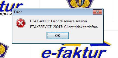 EFAKTUR client tidak terdaftar