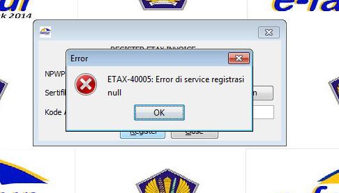Error di service registrasi