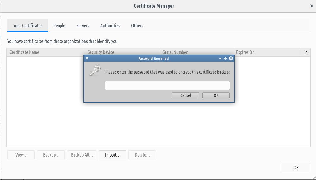 masukkan password sertifikat