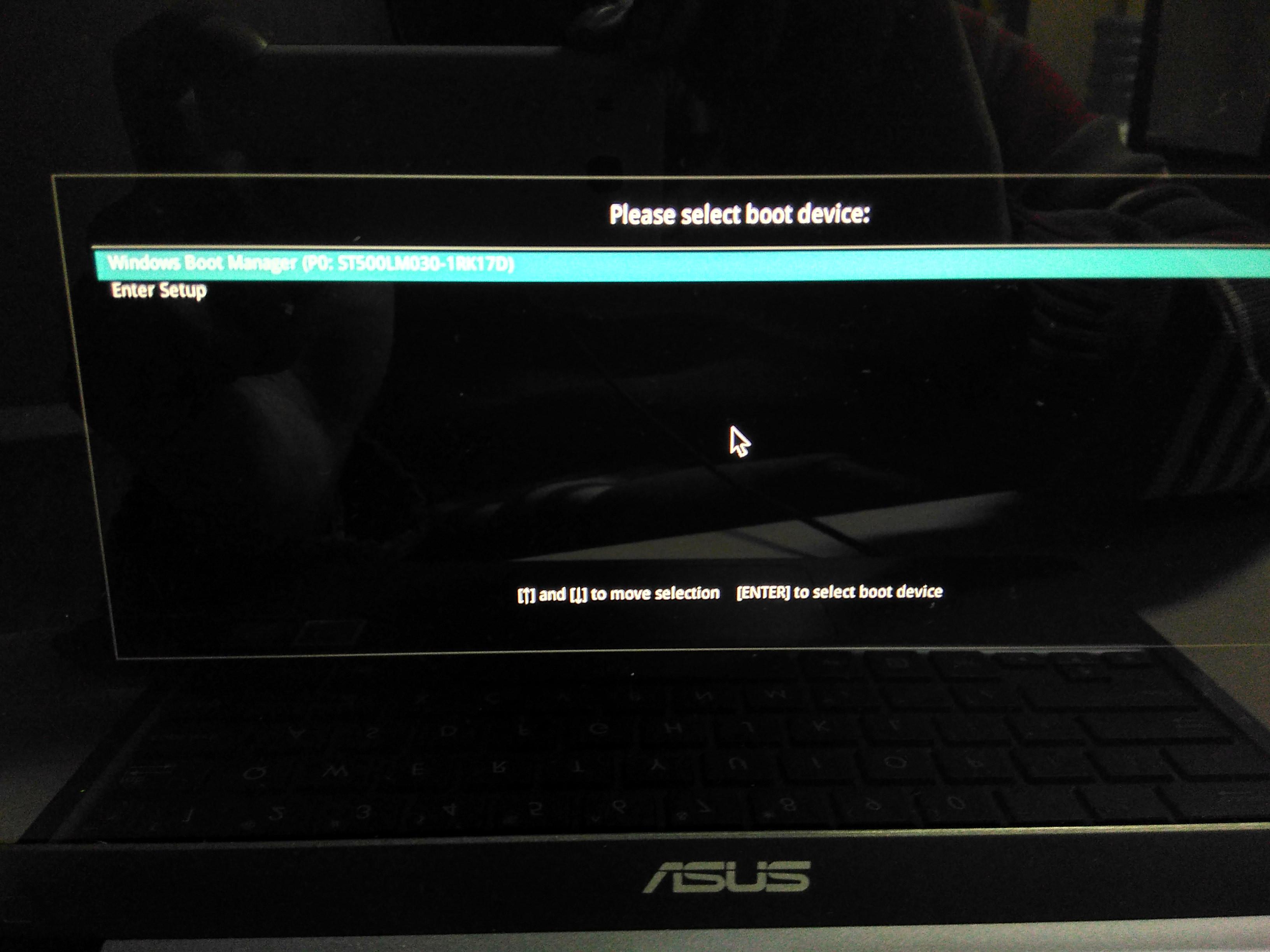 Boot ASUS E203NAH via USB