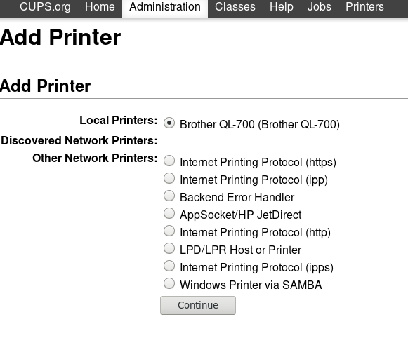 brother ql700 local printer