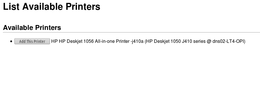 List Available Printers