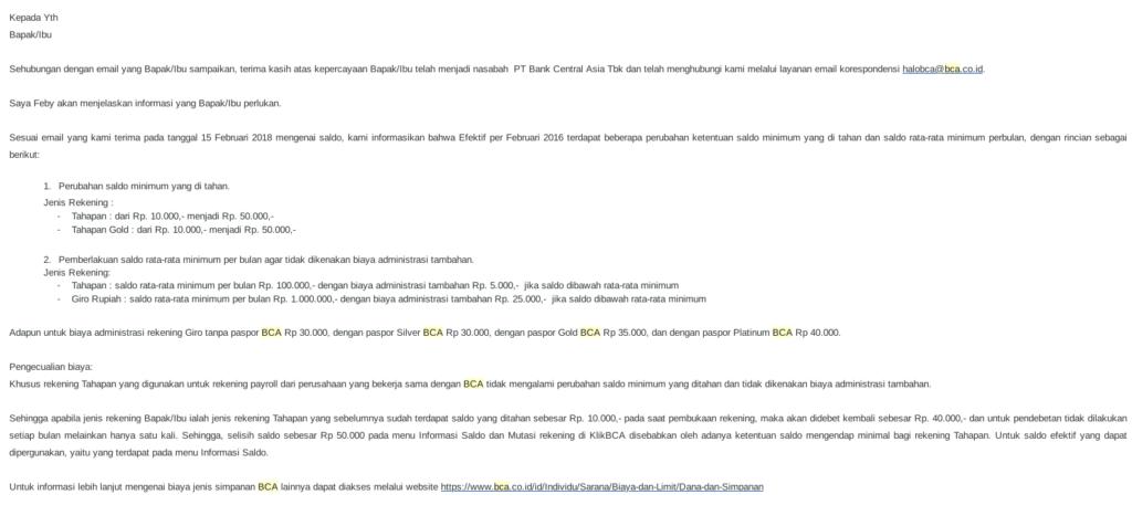 informasi bca mengenai saldo tertahan