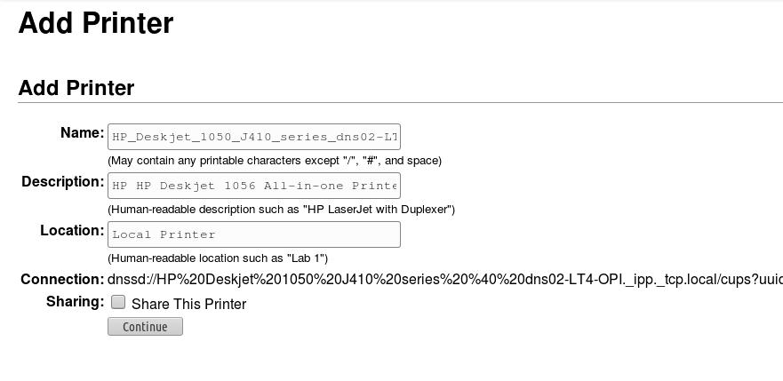 namai printer network