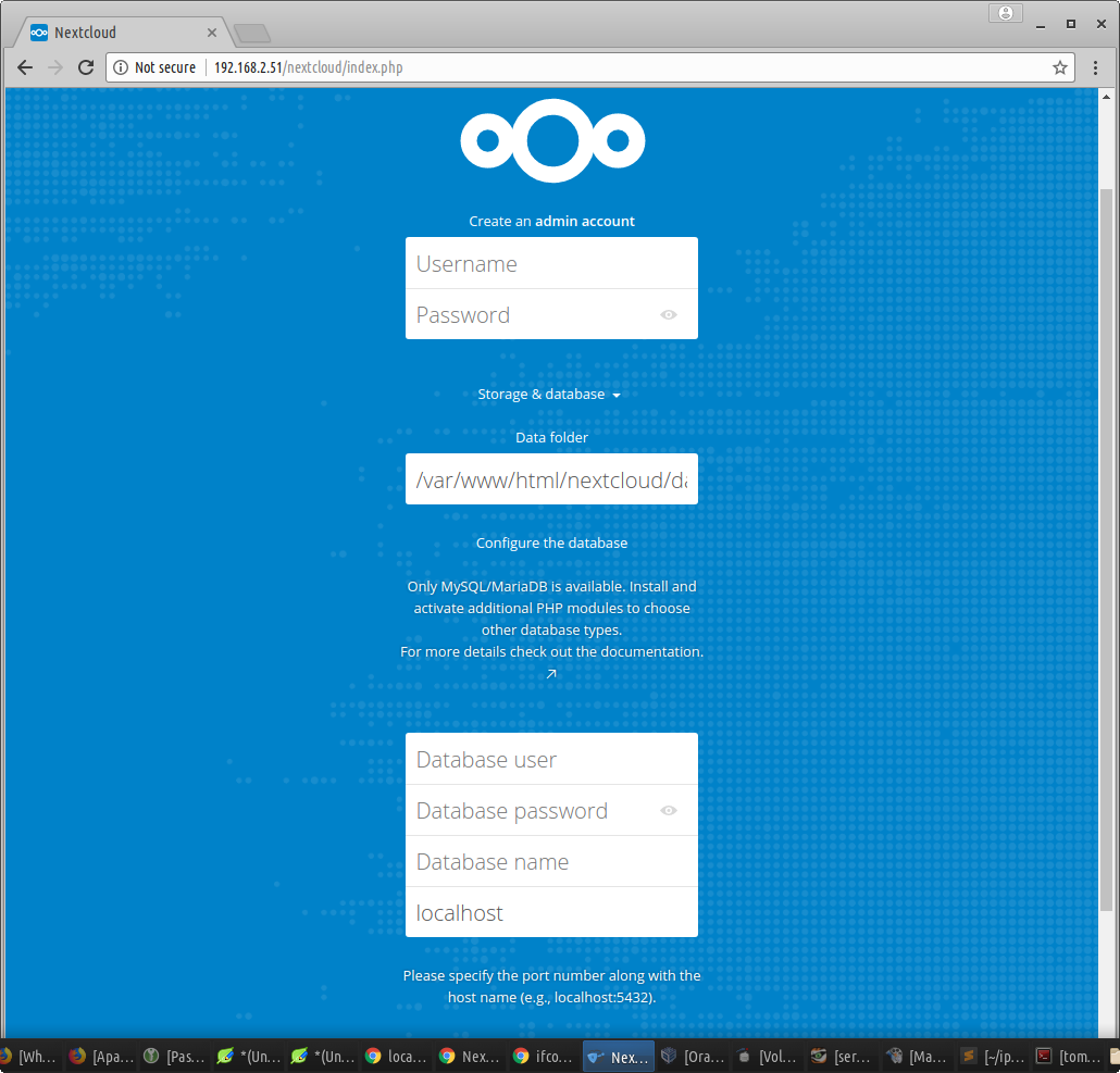 Buka nextcloud di browser