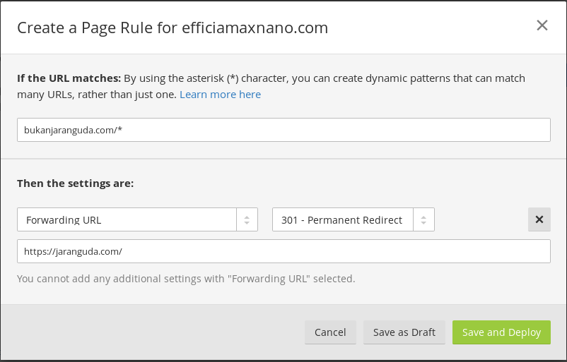 Create Page rules cloudflare