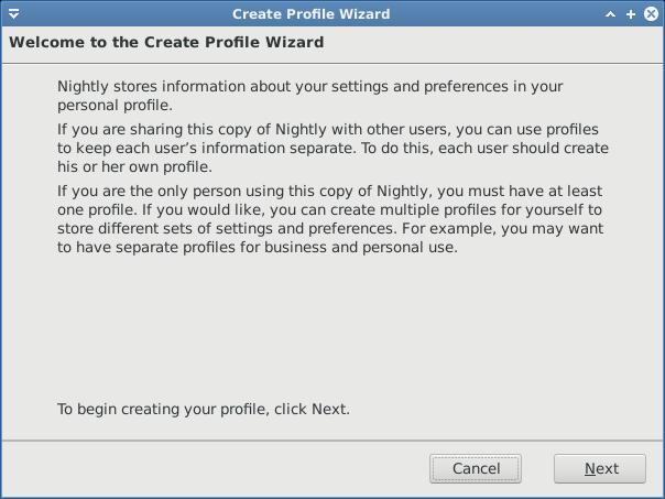 Buat profile baru Firefox nightly
