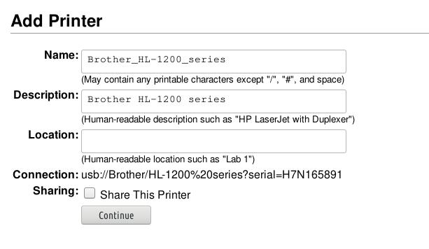 HL1201 printer name and description