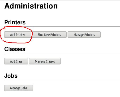 klik add printer di cups