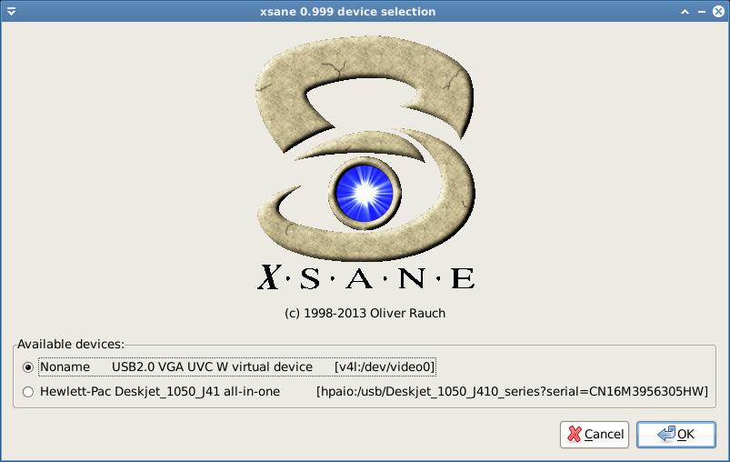 xsane pilih device scanner