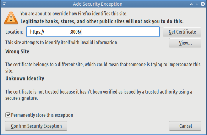 Firefox security exceptions
