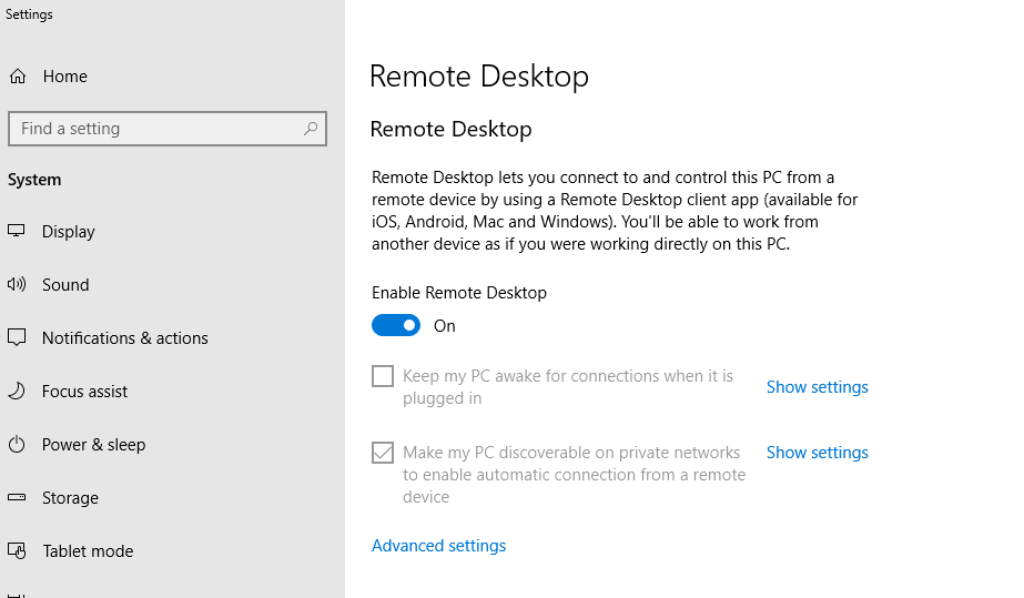 aktifkan remote desktop di windows 10