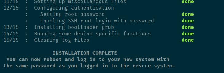 install debian 9 selesai di hetzner dedicated server