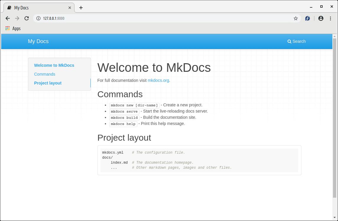 mkdocs default page