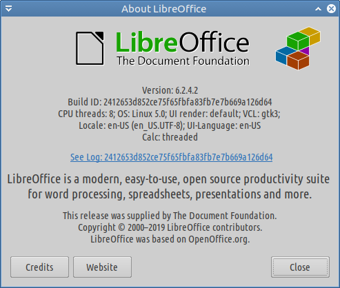 screenshot libreoffice 6.2.4.2