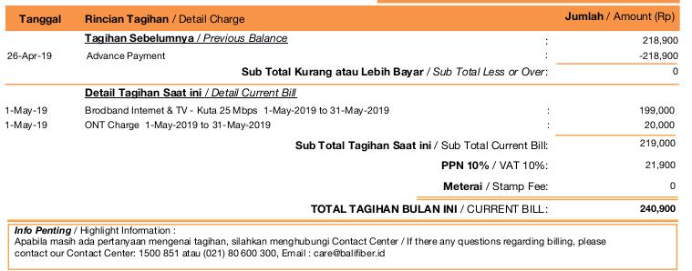 tagihan balifiber naik mei 2019