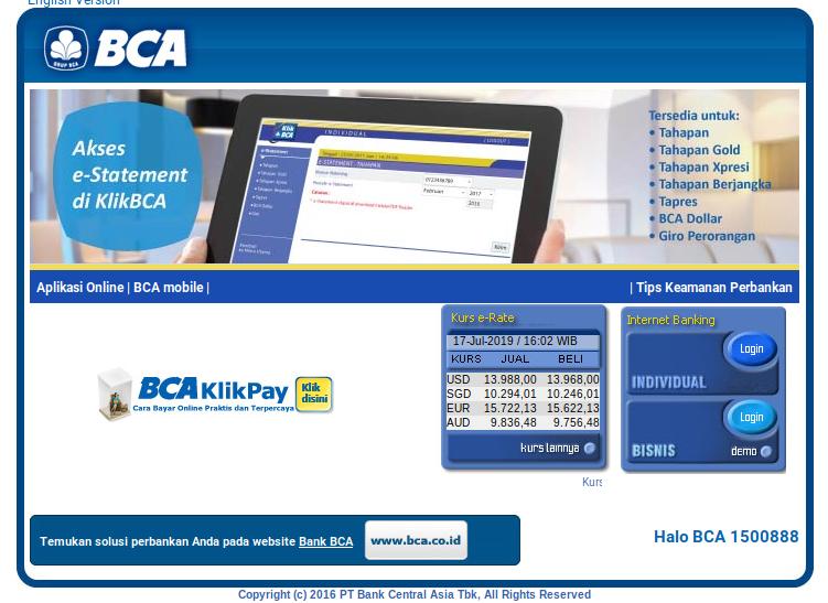 tampilan www.klikbca.com