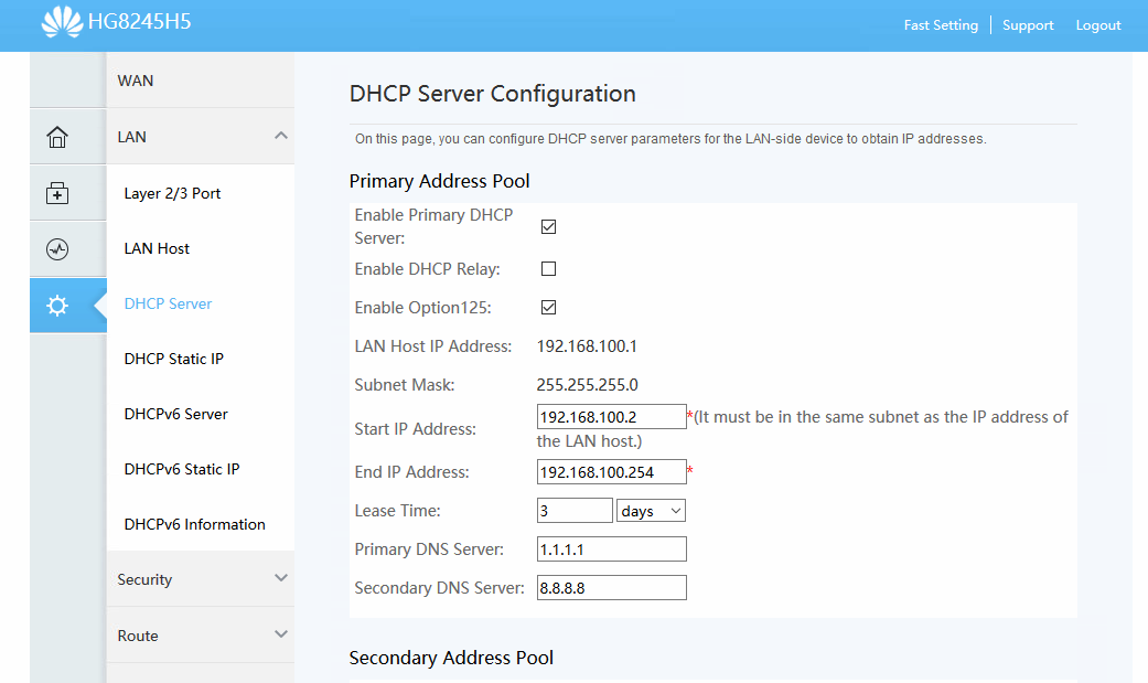 DHCP Server Huawei