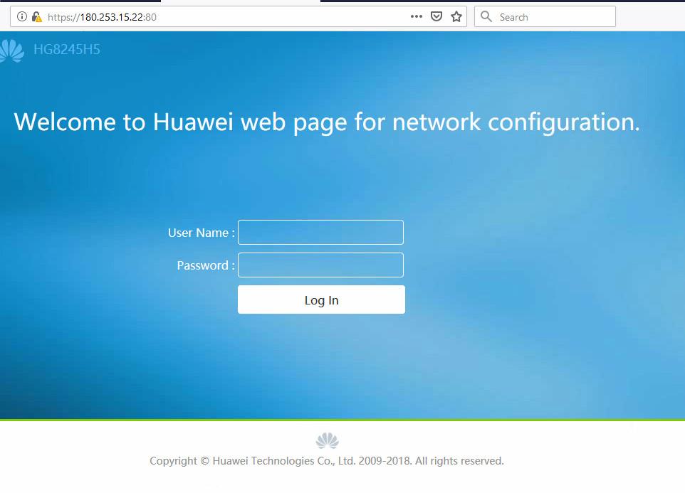 login router huawei HG8245H5