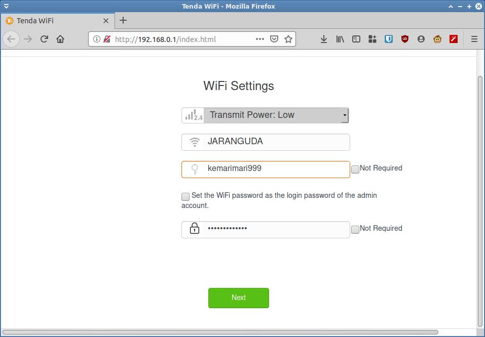 wifi setting tenda ac10u
