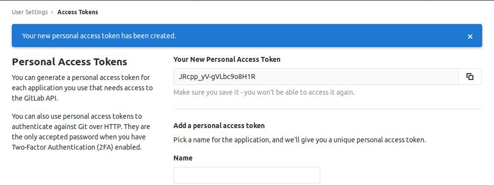 personal token access gitlab
