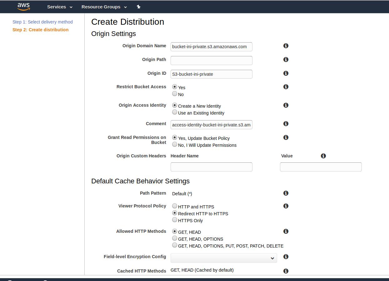 aws cloudfront distribution settings