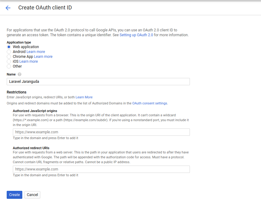 create oath client id