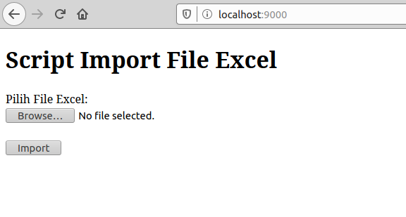 interface upload excel php