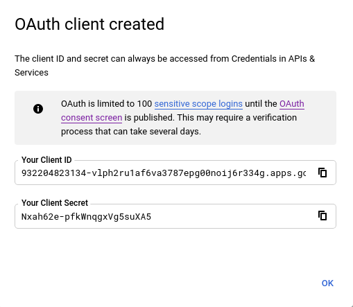 oauth client created google