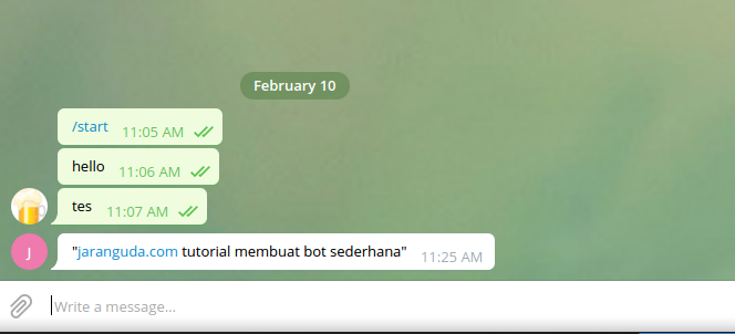 sukses kirim bot telegram