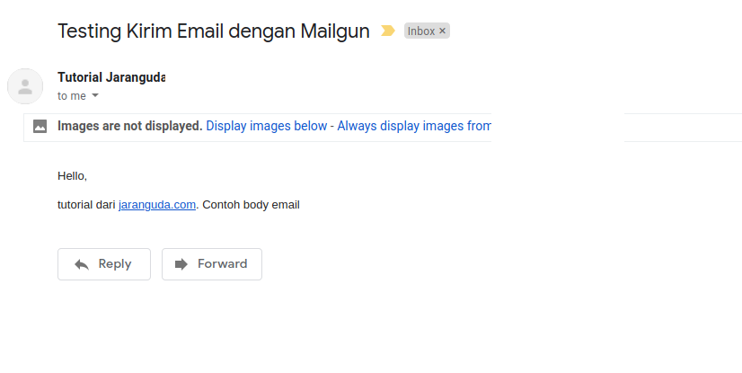 testing kirim email mailgun