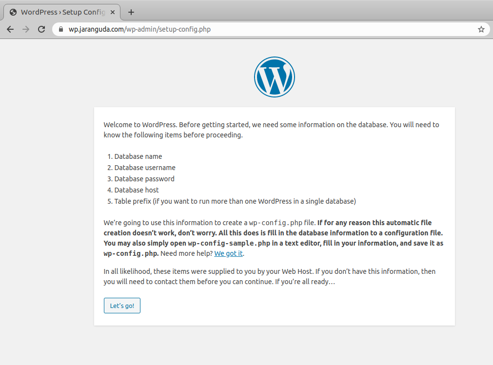 wordpress first setup wizard