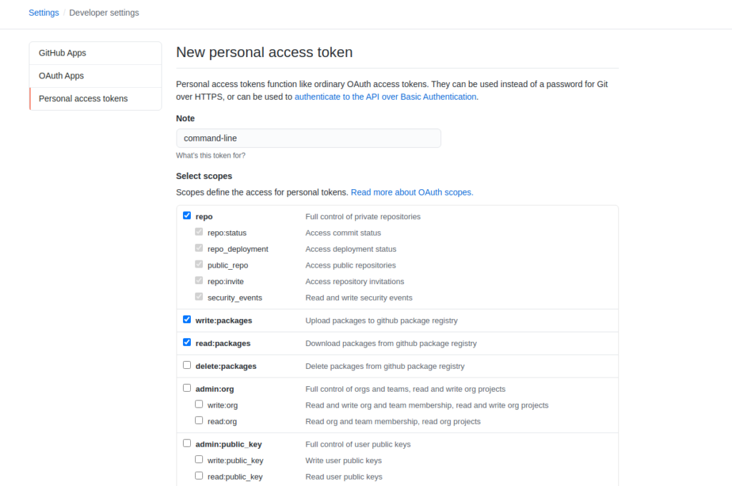 github personal access token scope