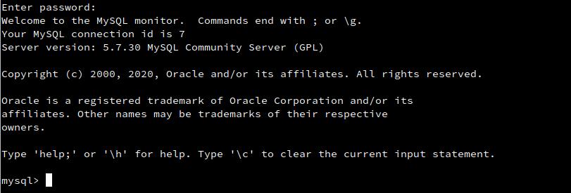 mysql login cli linux