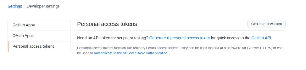 personal access token github
