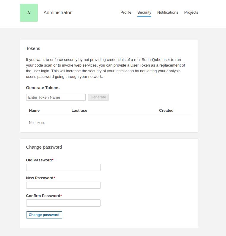 sonarqube change default password