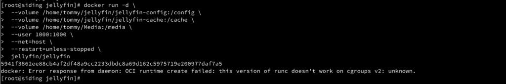 jellyfin docker run error