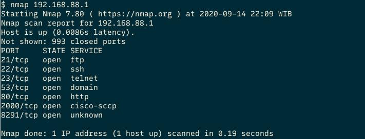 nmap di linux