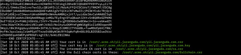 SSL yii framework acme