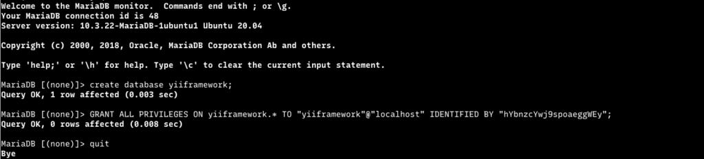 membuat user dan database yii framework