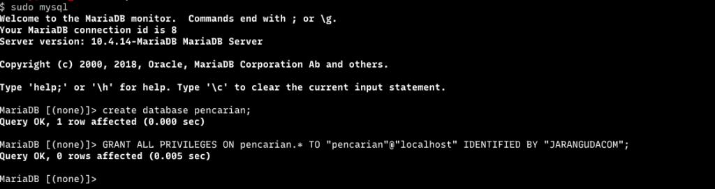 mysql membuat user dan database codeigniter