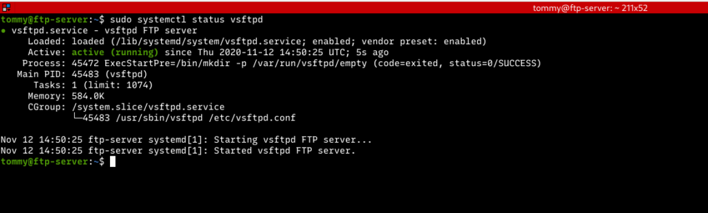 status ftp server linux