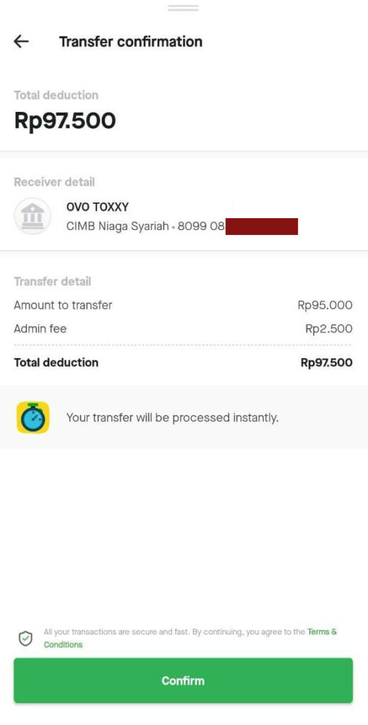 konfirmasi jumlah transfer gopay