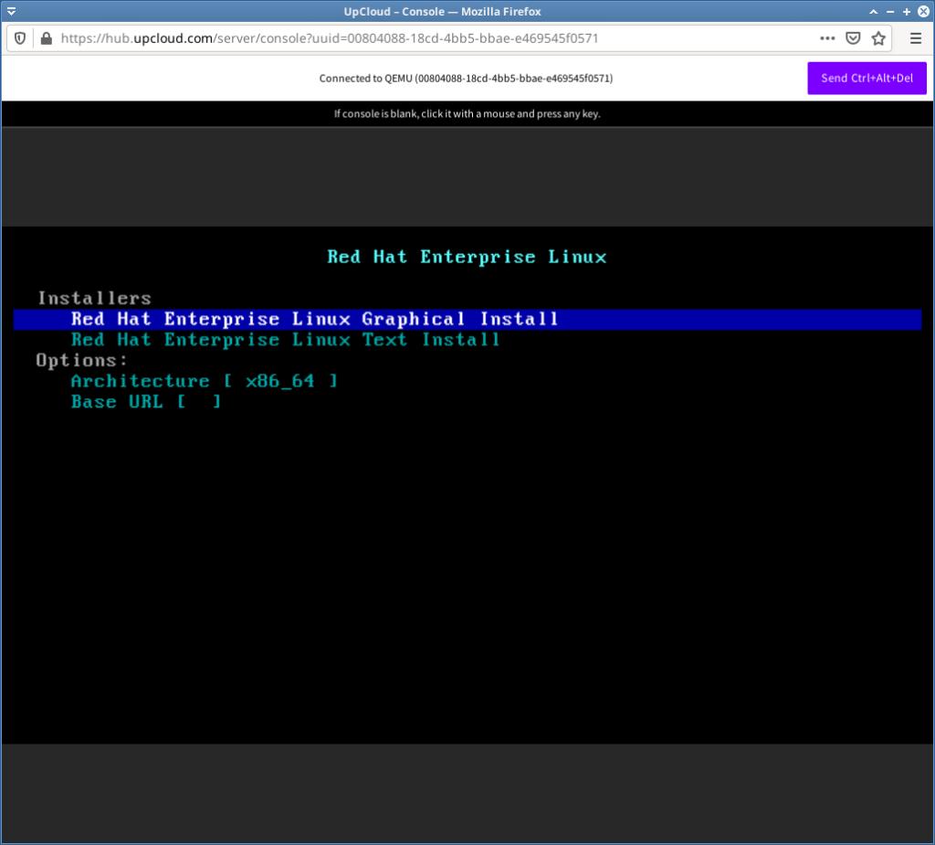 Install redhat enterprise linux on upcloud